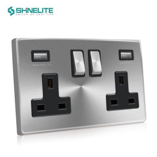Shinelite Good Quality UK Metal USB Wall Socket with 3.1A USB Port