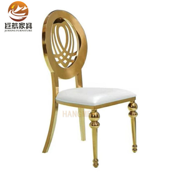 Flower Back Stainless Steel Gold Banquet Chair Wedding