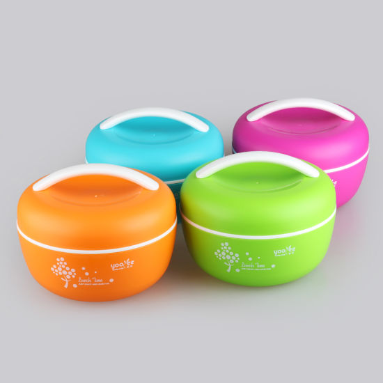 Amazon Hot Sell Plastic Round Lunch Box 2 Layers Apple Shape Bento Box with Color Box