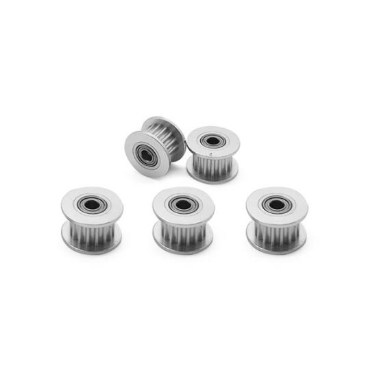 Pack-of-5 GT2 Idler Timing Belt Pulley Synchronous Gear Aluminium Wheel for 3D Printer 16 Teeth 3mm Bore 6mm Width