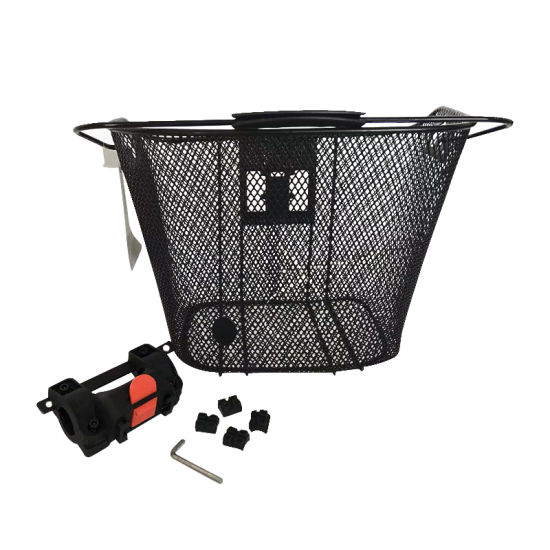Fashion Front Steel Bicycle Basket with Handle and Qr of Bicycle Parts