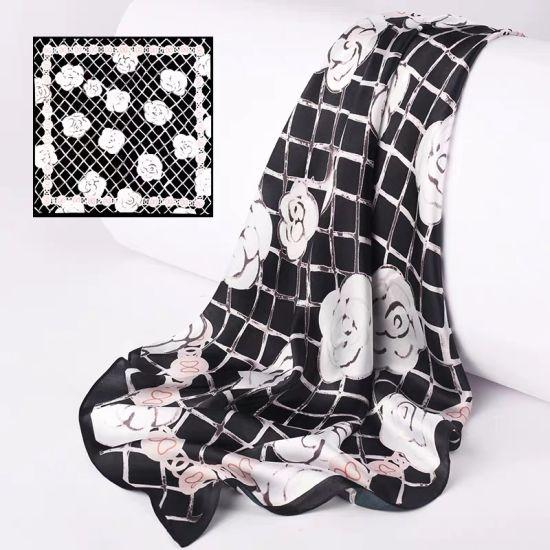 High Quality Elegant Ladies Custom Digital Printed Silk Bandanas Scarf