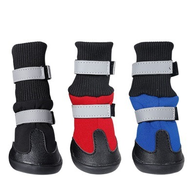 Waterproof dog velvet snow boot pet anti skid pup shoes pictures & photos