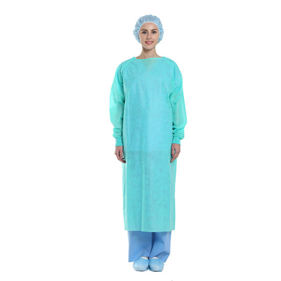 Disposable PP/SMS Non-Woven Isolation Gown Waterproof Patient Exam Visitor Surgical Dental Clinic Protective Gown Factory ISO Ce FDA Eo Sterile with Thumb Loop