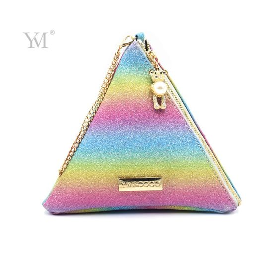 Colorful Cosmetic Bag Guangzhou Factory Wholesale Custom Print Make up Triangle Bag for Sale