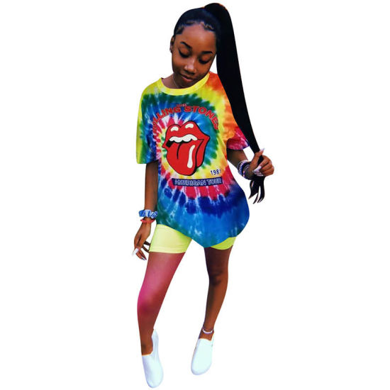 L221 Casual Tie Dye Letter Big Lips T-Shirt