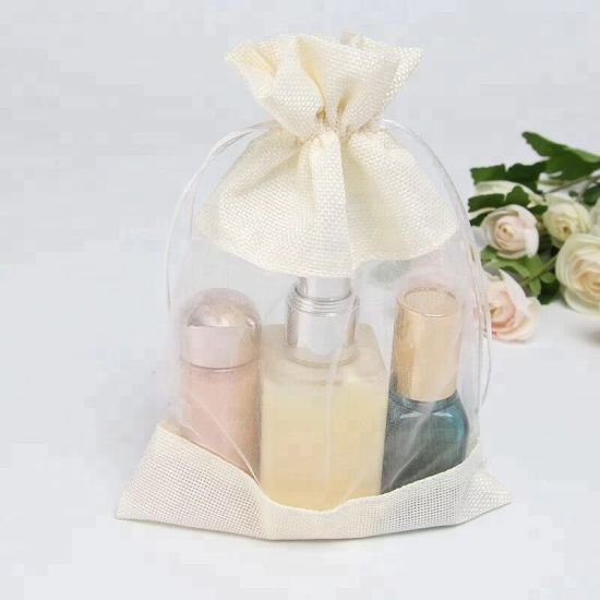 Customized Jute/PVC Jewelry Crafts Gunny Cosmetics Packing Linen Aromatherapy Gift Drawstring Pouches Bag