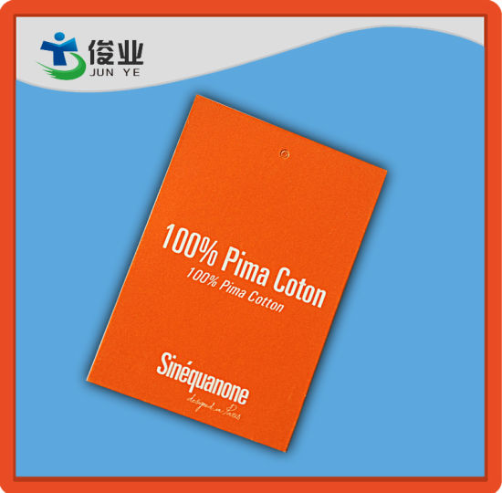 Pima Cotton Garments Used Hangtag with Red Background and Cheap Price