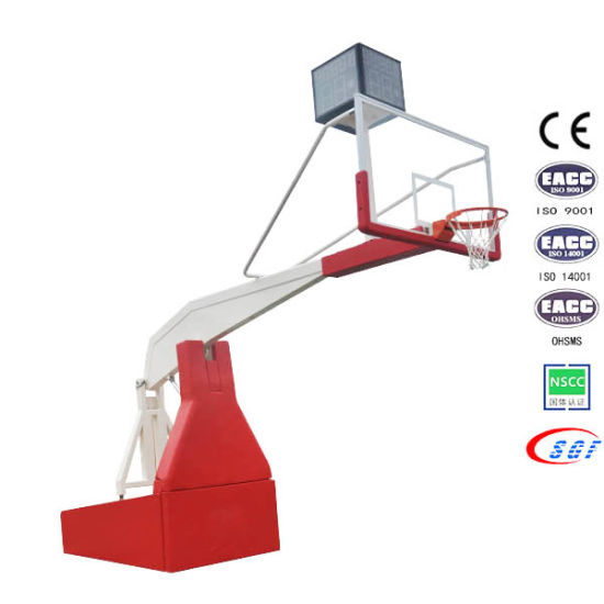 Basketball Equipment Electric Hydraulic Folding Basketball Stand Base with Tempered Glass Backboard pictures & photos