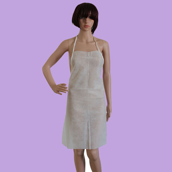 Disposable Polypropylene Apron White with Loop Around The Neck