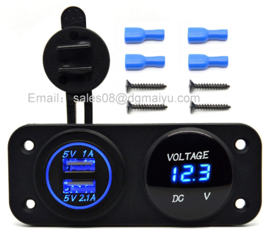 DC 12V - 24V LED Digital USB Voltmeter + Dual USB Power Socket Panel 2.1A/1A USB Charger for Car Boat Marine RV ATV Carvans Motorcycle Vehicle Mobile Phone pictures & photos