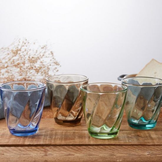 Wholesale Color Glass Water Cup Embossed Glass Cup Drinking Colorful Cup Glass