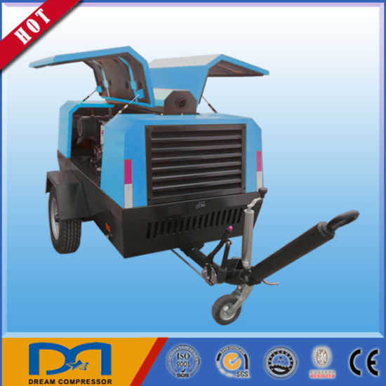 102 Psi Twin Screw Towable Trailer Diesel Air Compressor for Digging Made in China pictures & photos