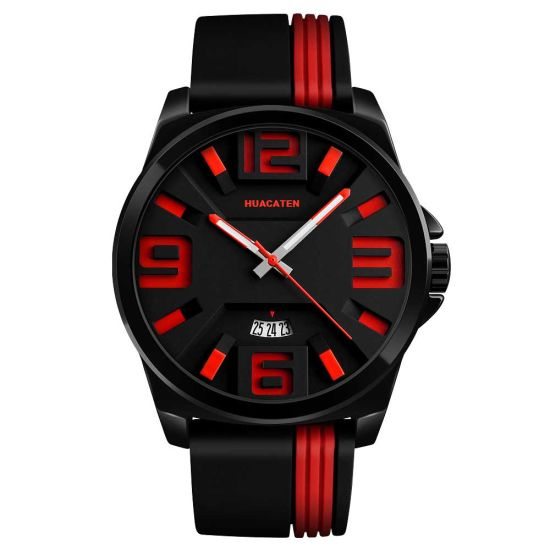 3D Waterproof Quartz Movement Sport Wrist Watch with Plastic Band