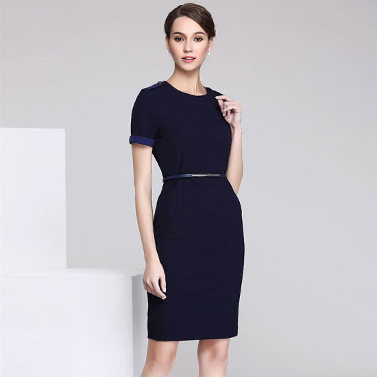 Classic Slim Fit Style Formal Ladies Designs Office Dress pictures & photos