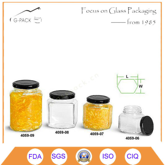 Hex Glass Jars with Metal Cap for Jam, Sauce, Jelly, Salsa′s Packaging pictures & photos