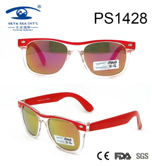 Transparent Red Children Kid Plastic Sunglasses (PS1428) pictures & photos