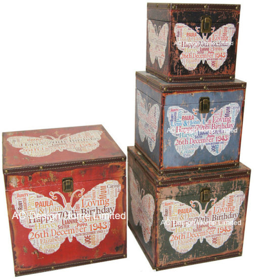 S 4 Decoration Antique Vintage Erfly Design Square Printing Pu Leather Mdf Wooden Storage Trunk Box