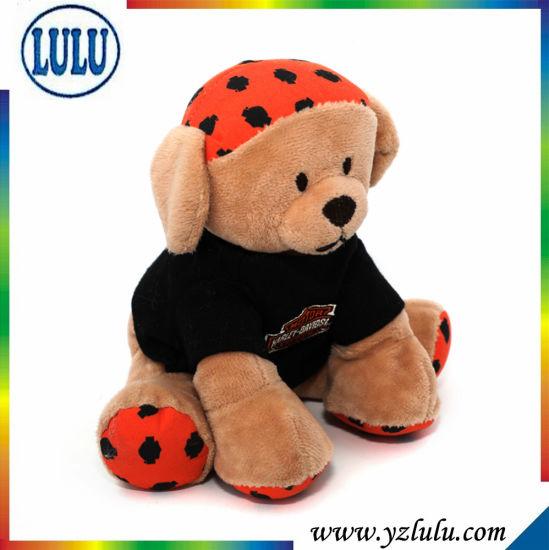 Plush Sitting Black Clothes Cute Teddy Bear Toy