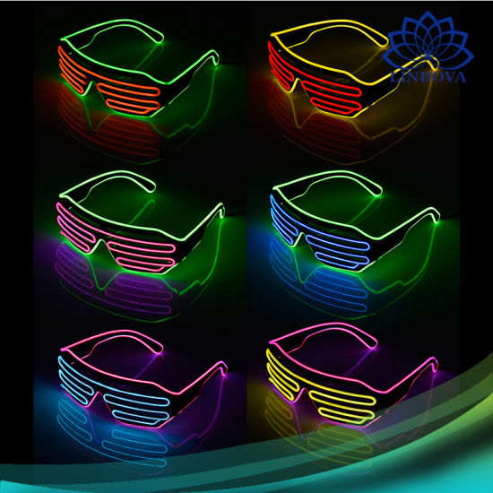 ef24c02d2459 LED Flashing EL Glowing Glasses Light up Shutter Shades Rainbow EL Wire  Luminous Glasses for Christmas Party Supplies