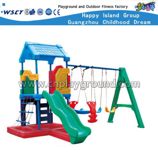 China kindergarten playground kids plastic slide and swing for T shaped swing set