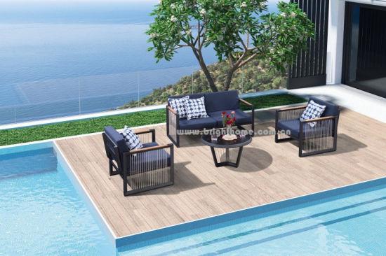 Wholesaler Modern Furniture Leisure Patio Teak Wood Aluminum Textilene Rope Outdoor Furniture