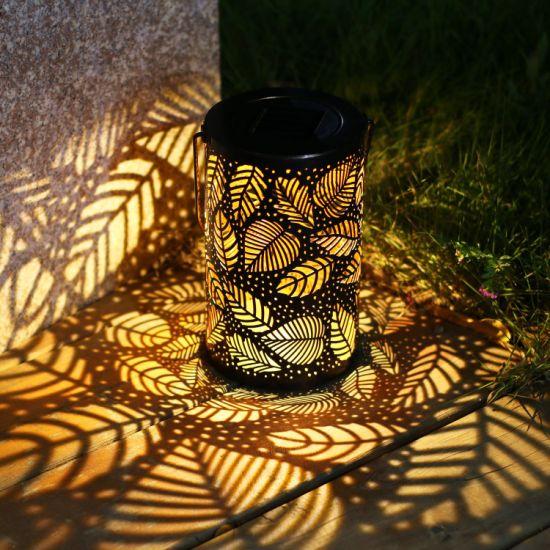 Outdoor Patio Decorative Hanging Metal Leaf Pattern Solar Lantern Lights