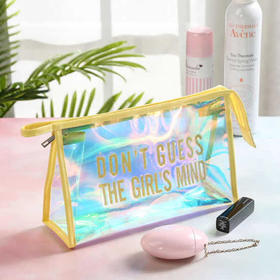 Clear PVC Toiletry Bag, Travel Makeup Bags for Carry on Liquids, Holographic PVC Cosmetic Bag