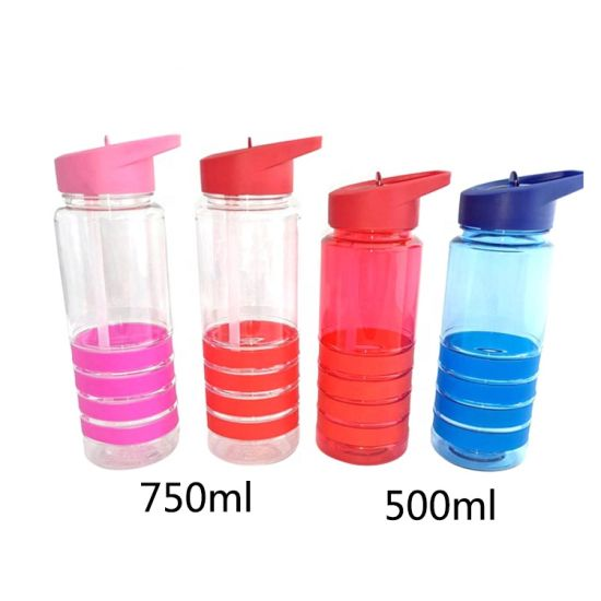 18/24oz BPA Free Plastic Drinking Bottle with Ring and Flip up Straw