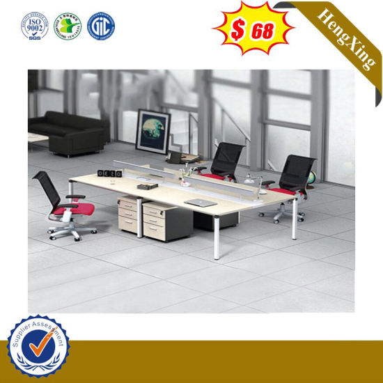 Metal Legs 4 Seats Computer Desk with Hanger Cabinet MDF Office Partition pictures & photos