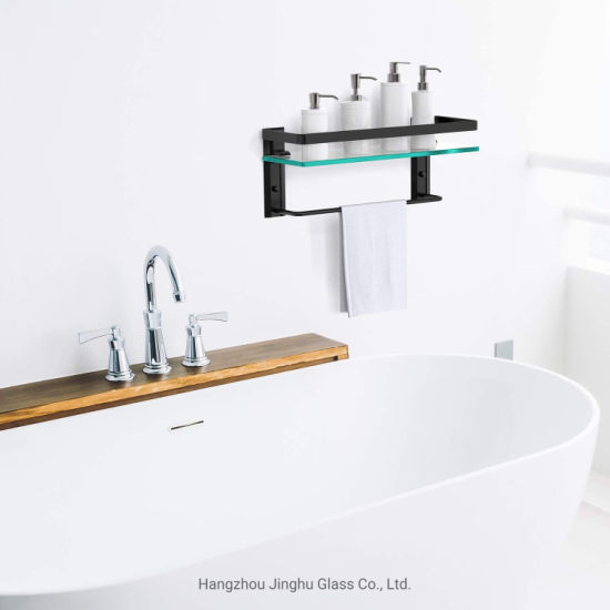 8mm Wall Mounted Bathroom Tempered Glass Shelf for Home Decoration