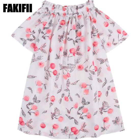 2019 Spring Factory Customised Kids Wear Children Clothing Girl Cotton Berry Print Dress Elegant Apparel