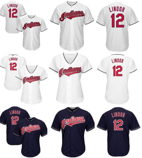 new products 65422 1f58b Customized Cleveland Indians Francisco Lindor Baseball Jerseys