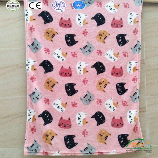 China Cute Cartoon Cat Printing Super Soft Children Warm Fleece Baby Blankets China Girls Blanket And Flannel Blanket Price