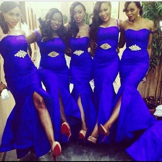Royal Blue Bridesmaid Dress Split Purple Chiffon Prom Party Z4031