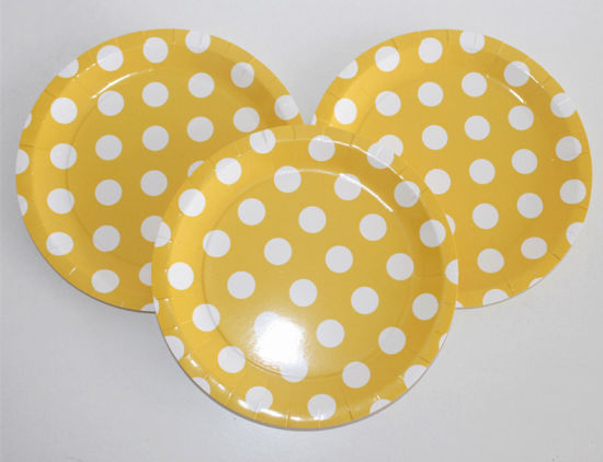 High Quality Yellow Color Food Grade Polka Dots Paper Plates  sc 1 st  Suzhou King Fly Paper Products u0026 Technology Co. Ltd. & China High Quality Yellow Color Food Grade Polka Dots Paper Plates ...