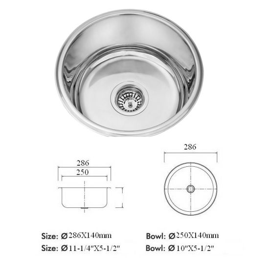 China Commercial Small Round Stainless Steel Basin For Bathroom - Commercial bathroom sinks stainless steel