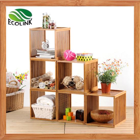 DIY Creative Combination Slotted Bamboo Storage Shelf