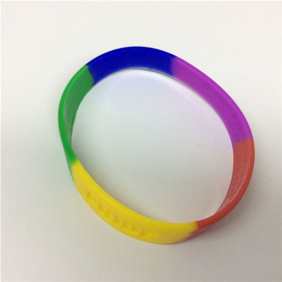 Rainbow Segmented Color Debossed Logo The Silicone Bracelet pictures & photos