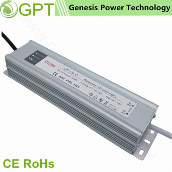 120W 24V 5A Switch Mode Waterproof Power Converters Supplies Outdoor IP67, Single Output LED Driver Light Power Supply Aluminum Shell Slim LED Transformer