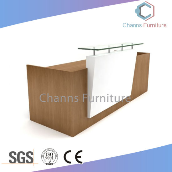 Modern Furniture Beauty Salon White Reception Desk Office Counter Table With Glass Cas Rd604