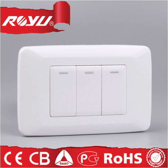 Three Gang Switch with Indicator with SABS Approval