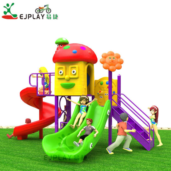 New Cartoon Outdoor Plastic Slide Set