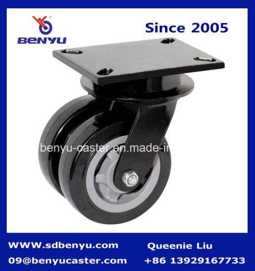 Heavy Duty 4-8 Inch Swivel Mounting Caster Black Double Wheels