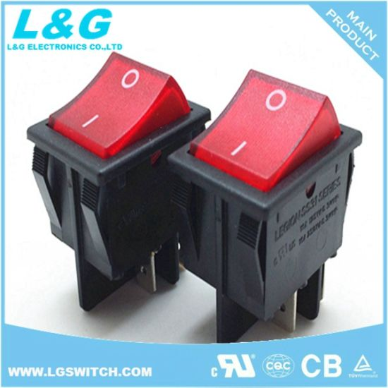 Latching Power I/O 4 Pins Micro Button Rocker Switch with Light 16A 250VAC