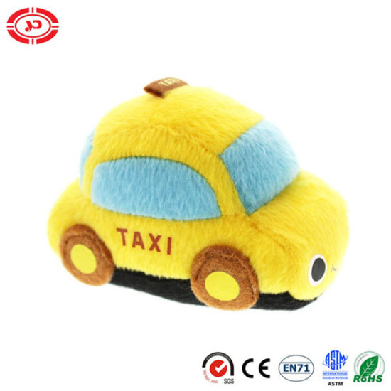 Yellow Taxi Plush Car Shape Velboa Stuffed Realistic Toy