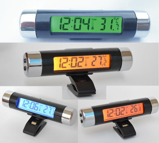 China Mini Car Thermometer With Calendar And Clock 4 Colors