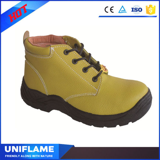 Yellow Embossed Leather Upper Men Waterproof Safety Shoes