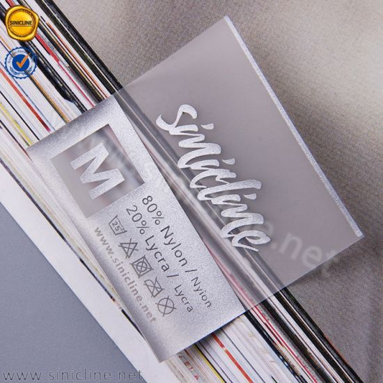 Sinicline Custom Silver Logo Printed TPU Care Label for Garment