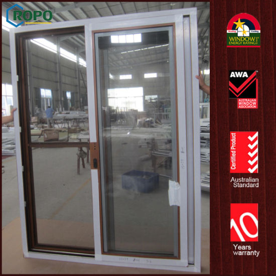 China Australian Standard Sliding Glass Door Size Wood Color Glass